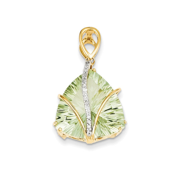 14K Green Quartz & Diamond Pendant