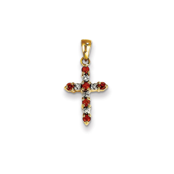 14k Garnet & Diamond Cross Pendant