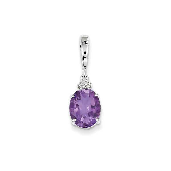 14k White Gold Diamond and Amethyst Oval Pendant