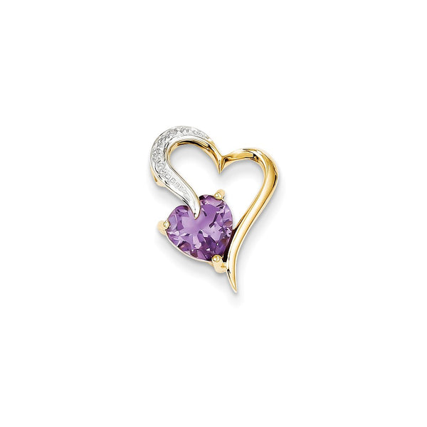 14k Diamond and Amethyst Heart Pendant