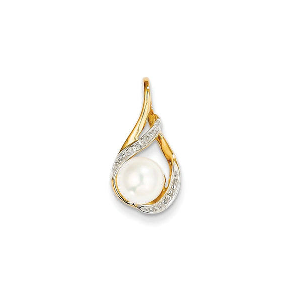 14k 7-8mm White Round Freshwater Cultured Pearl and Diamond Pendant