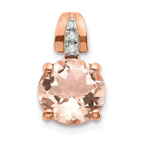 14k Rose Gold Diamond and Morganite Round Pendant