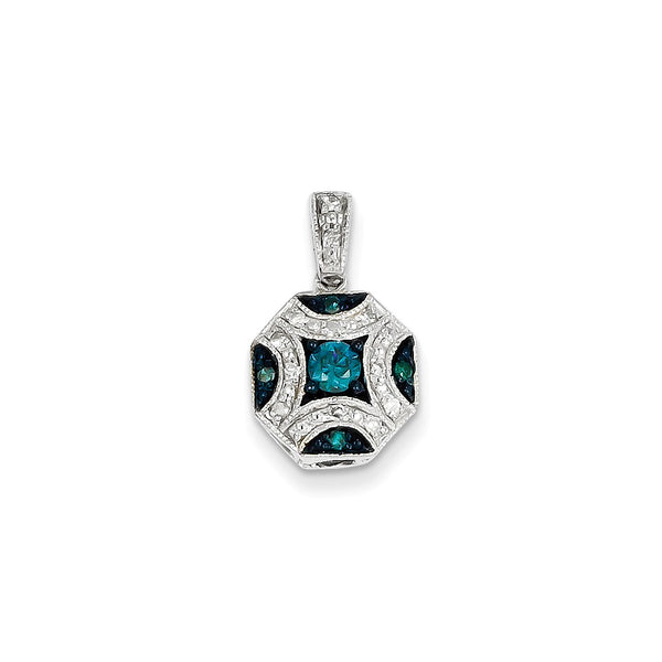 14K White Gold White & Blue Diamond Pendant