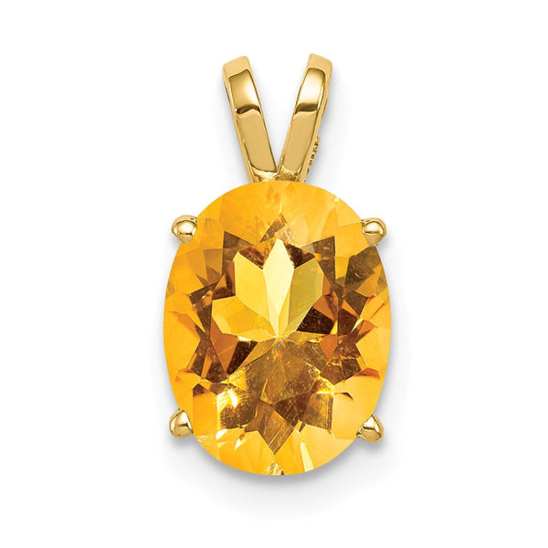 14k 9x7mm Oval Citrine pendant