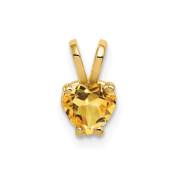 14k 5mm Heart Citrine pendant