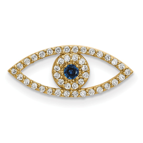 14ky Small Diamond and Sapphire Evil Eye Pendant