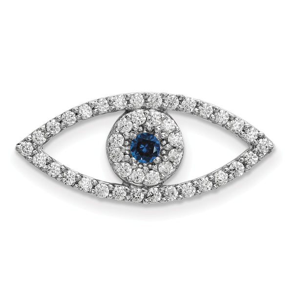 14k White Gold Medium Diamond and Sapphire Evil Eye Pendant