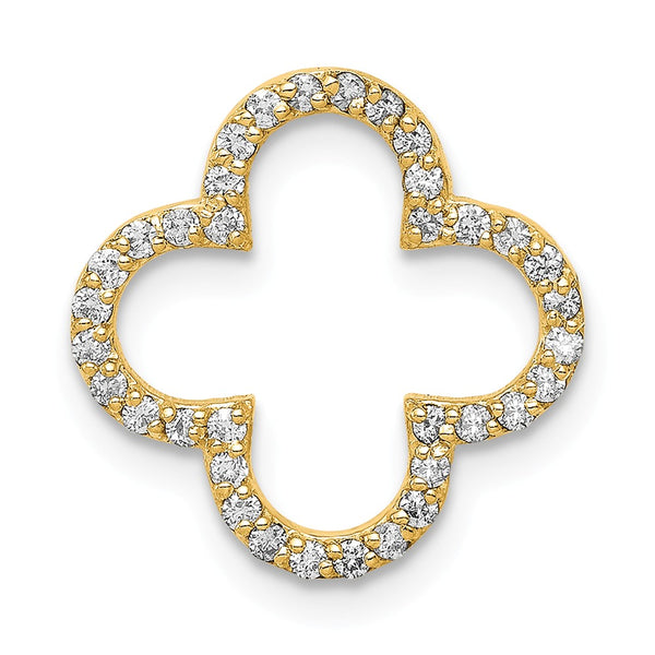 14k Small Diamond Quatrefoil Design Pendant