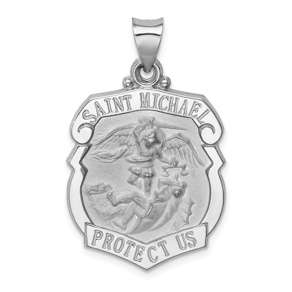 14k White Gold Polished and Satin St. Michael Badge Medal Pendant