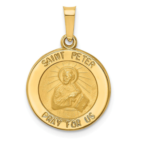 14k Polished and Satin St. Peter Medal Pendant