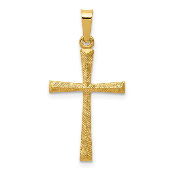 14k Textured and Polished Latin Cross Pendant