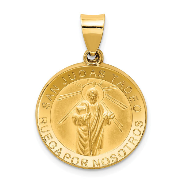 14k Polished & Satin Hollow Spanish St. Jude Thaddeus Medal Pendant