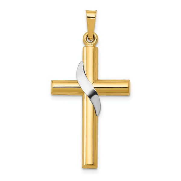 14k Two-tone Hollow Cross Charm