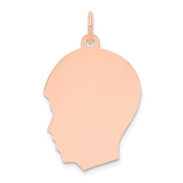 14k Rose Gold Plain Medium .018 Gauge Facing Left Engraveable Boy Head Char