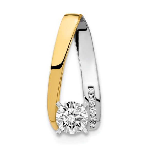 14k Two-tone AAA Diamond slide