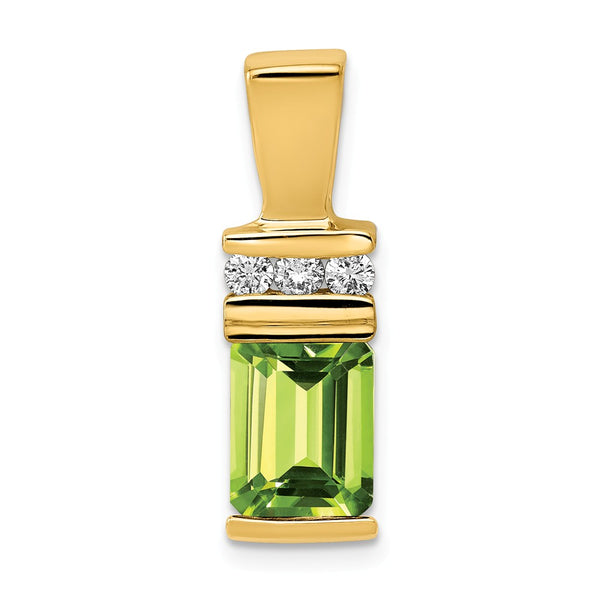 14k 8x6mm Emerald Cut Peridot AA Diamond slide