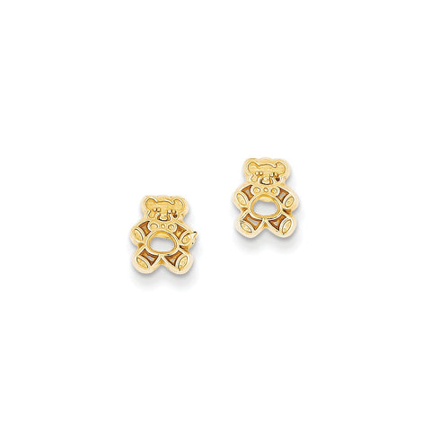 14k Polished Teddy Bear Post Earrings