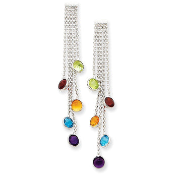 14k White Gold Multi-colored Gemstone Dangle Earrin