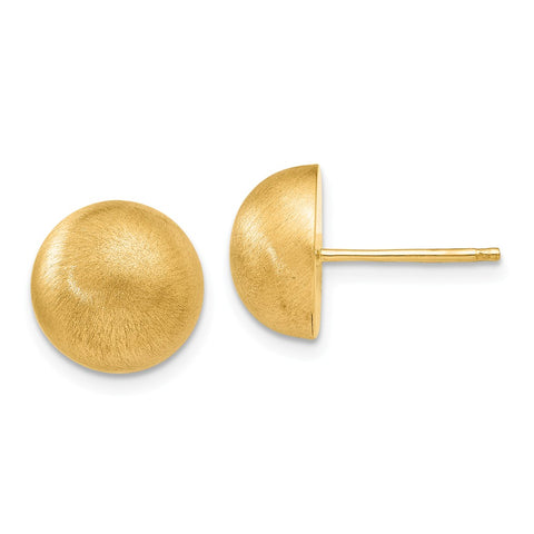 14k Hollow Satin 10.50mm Half Ball Post Earrings