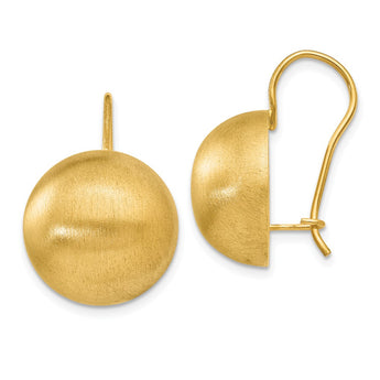 14k Hollow Satin 16.00mm Half Ball Earrings