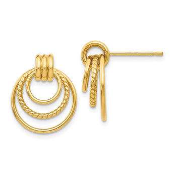 14k Polished & Twisted Fancy Post Earrings