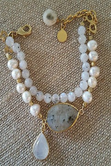Pearl and Moonstone Double  Balboa Bracelet - Catherine Page