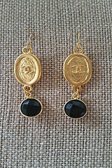 Chanel Tag Earrings with Black Onyx