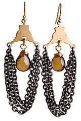 Eunice Earring in  Whiskey Quartz and Black Chain