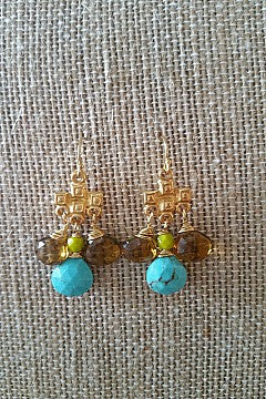 Khamsin Turquoise drop earrings with Smokey Quartz and Jasper 1