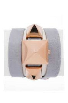 La Mer Collections 'Cairo' Pyramid Stud Leather Wrap Bracelet Watch