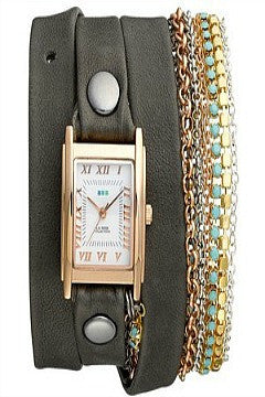 La Mer Collections 'Turquoise Crystal' Leather & Chain Wrap Watch