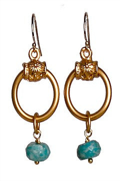 Small Hoop Earrings with Amazonite - Catherine Page Jewlery