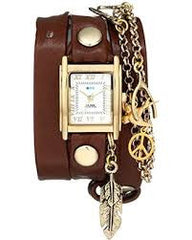 La Mer Collections Women's Peace Pipe Charm Chain Wrap Watch
