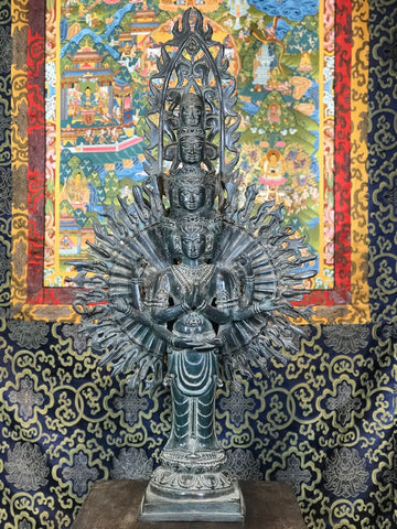 "Brass Avalokiteshvara with 1000 Arms Statue 27"" - Routes Gallery"
