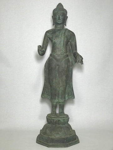 "Brass Standing Teaching Buddha Statue 36"" - Routes Gallery"