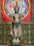 "Brass Thai Standing Buddha Statue with Alms Bowl 28"" - Routes Gallery"