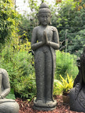"Stone Standing Namaste Buddha Statue 60"" - Routes Gallery"