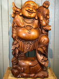 "Wood Happy Buddha with Children & Lucky Bag 38.5"" - Routes Gallery"