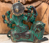 Brass Durga Statue Seated on Lion 3.5""