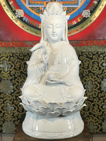 "Porcelain Seated Quan Yin Statue 20"" - Routes Gallery"