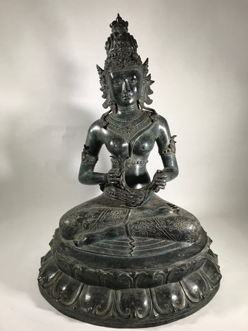 Seated Brass Dewi Sri / Sri Devi Goddess 27""