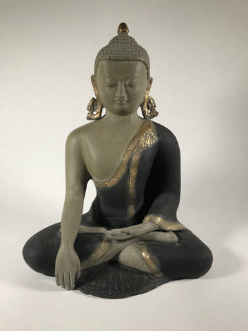 Brass Seated Earth Witness Buddha 12.5""
