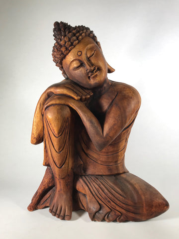 Wood Relaxing Buddha 16""