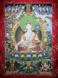 White Tara Thangka Painting - Routes Gallery