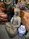 "Stone Meditation Buddha with Floral Robe 41"" - Routes Gallery"