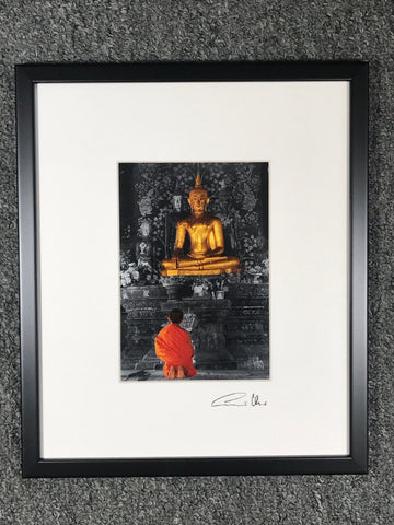 Praying Buddhist Monk Framed Art Photo