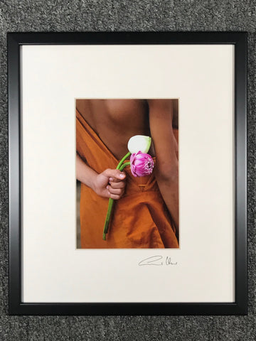 Monk and Lotus Offering Framed Art Photo - Routes Gallery