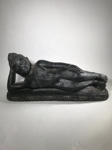 "Stone Reclining Paranirvana Buddha Statue 22"" - Routes Gallery"