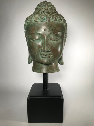 "Brass Buddha Head On Stand 20"" - Routes Gallery"