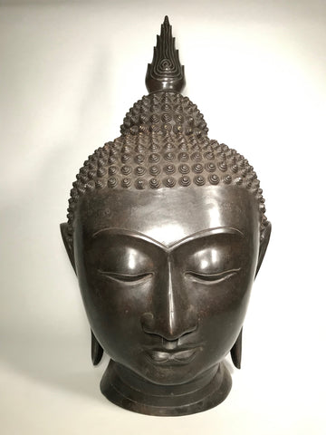 "Brass Buddha Head with Flame Finial 24"" - Routes Gallery"